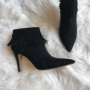 Kate Spade Fringe Suede Pointed Toe Booties